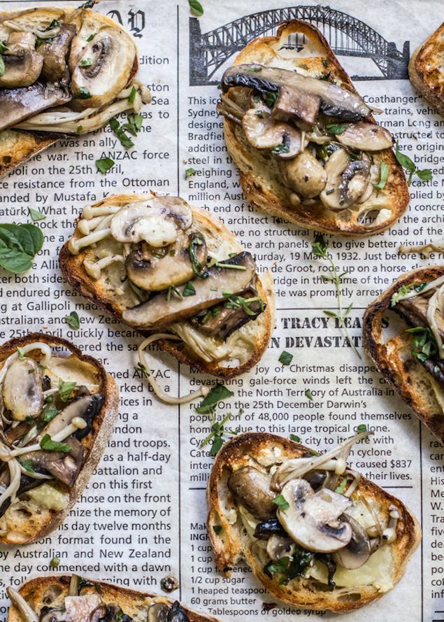 Port-Cooked Mushroom Bruschetta with Brie