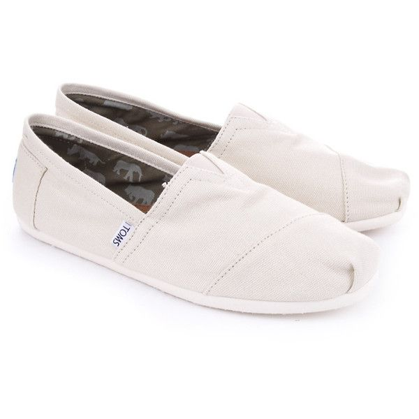 Natural Toms Classic Canvass Slip On ($45) ❤ liked on Polyvore featuring shoes, flats, toms, sapatos, toms flats, slip on flats, flat slip on shoes, slip-on shoes and pull on shoes