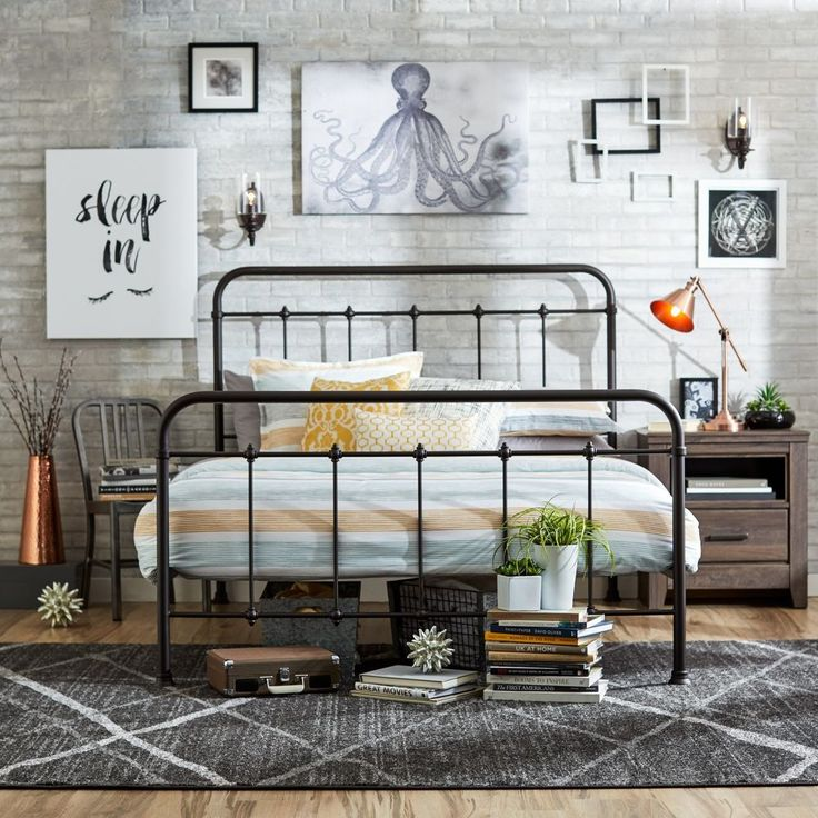 details about queen size bed frame metal headboard footboard adjustable height antique rustic