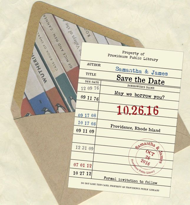 Library card Save The Dates   30 Ideas for a Book-Inspired Wedding via Brit + Co.