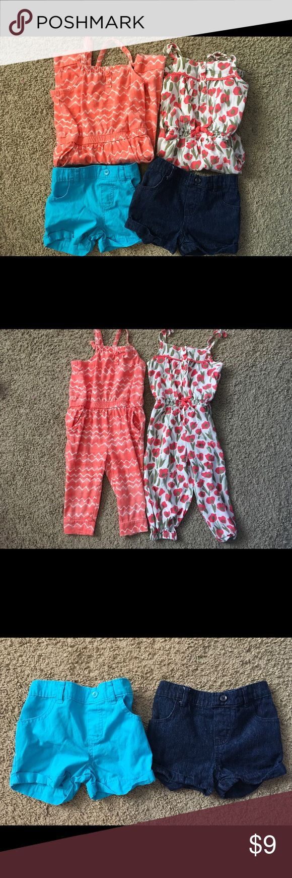 Bundled 2 girls jumpsuits, 2 shorts Size 3T Bundle of two girls jumpsuits, and 2 girls shorts size 3T.  Jean shorts were never worn, as the little princess did not like them.  The jumpsuits have been worn a few times.  Label on one of the jumpsuits melted in too hot of dryer thanks to dear old Dad. Old Navy Bottoms Jumpsuits & Rompers