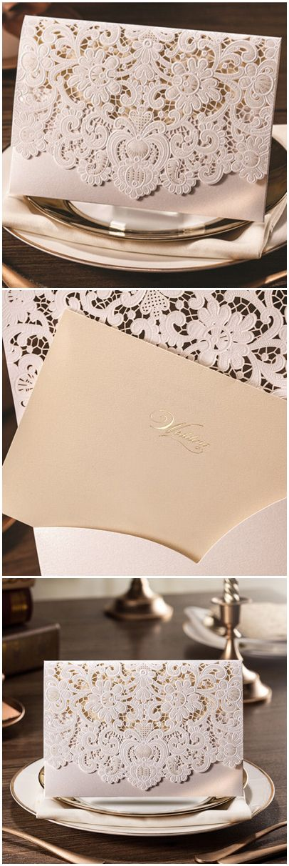 pearl white and champagne elegant laser cut wedding invitations