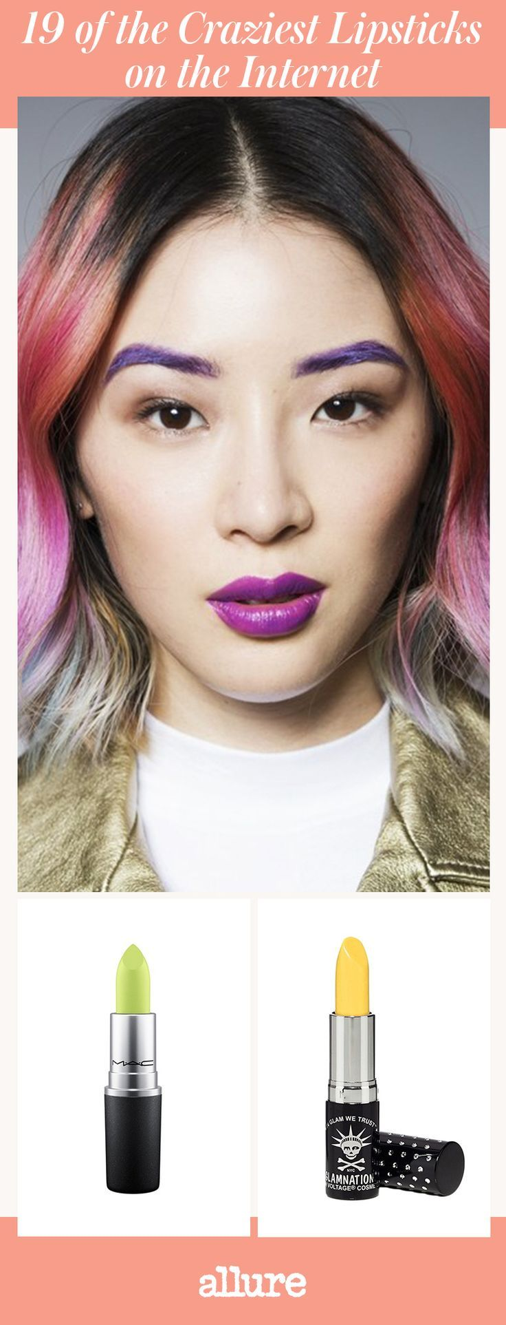 Cherry reds, hot pinks, and chocolatey nudes have nothing on the new wave of bold lipsticks. Lately, cosmetics companies like Bite Beauty, Kat Von D, and Make up For Ever are covering the complete color spectrum. Meet the most bizarre blue, eccentric eggplant, and quirkiest green lipsticks we could possibly find on the Internet. We dare you to try all of these rainbow shades—just not at once.