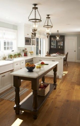 Small Kitchen Island Ideas For Small Kitchen : Wooden Floor White Counters  Classic Chandeliers Grey Wall. Would Be Good Layout For Golf Kitchen