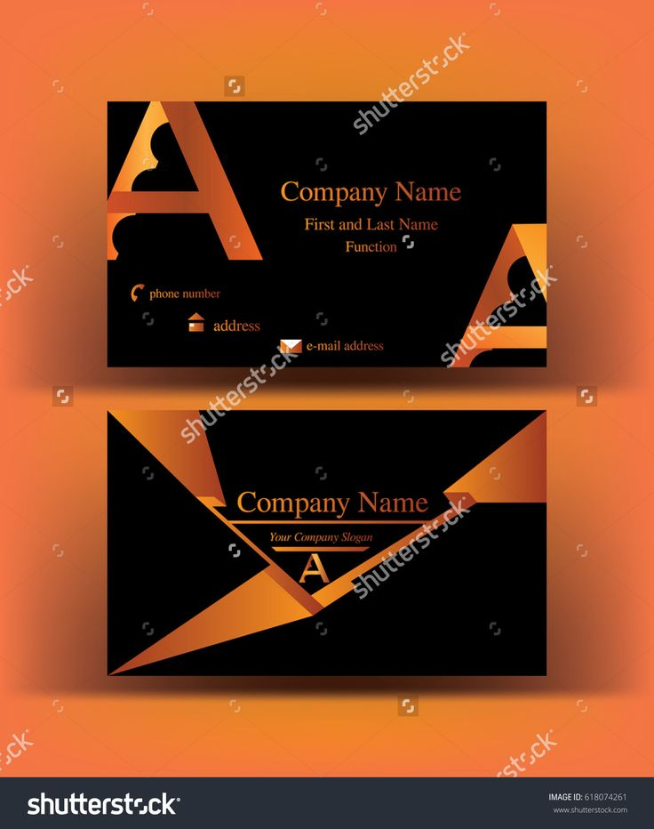 Bold #futuristic #black #business #card with abstract #A letter #logo design, on orange background