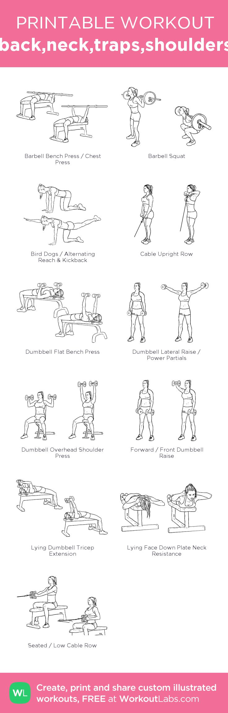 back,neck,traps,shoulders: my visual workout created at WorkoutLabs.com • Click through to customize and download as a FREE PDF! #customworkout