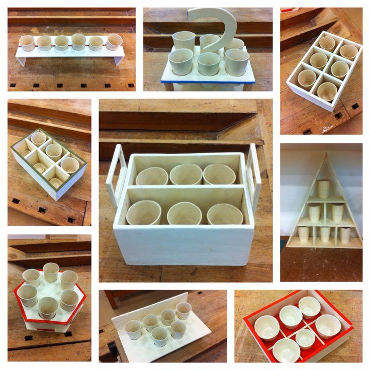 Reproduction de gobelets pique-nique avec des moules en plâtre et de la barbotine. Fabrication d'un objet protecteur et de mise en valeur de 6 gobelets. Élèves de 7ème.