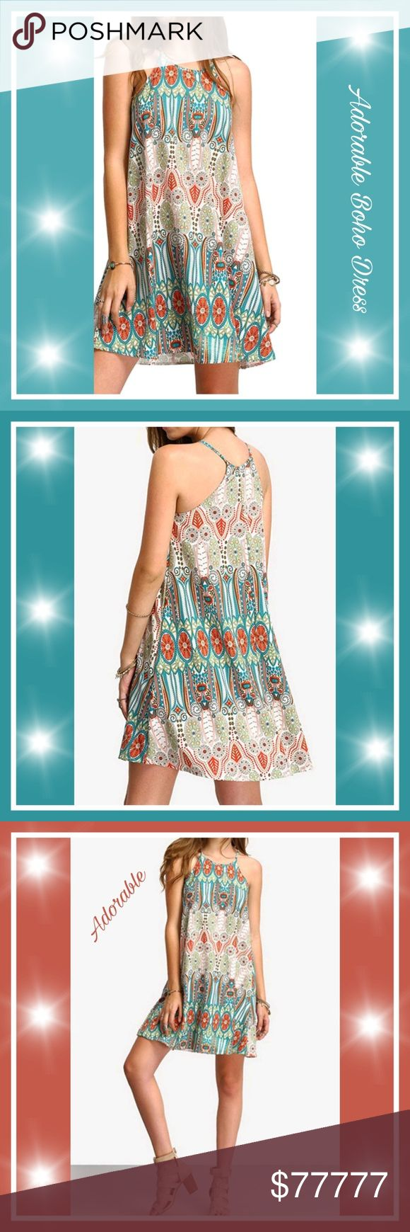 Just arrived 🌴adorable Bohemia Sleeveless  Dress Brand new , beautiful Bohemia Sleeveless Dress Floral Print Spaghetti Strap Mini Beach Dress Boho Hippie  Sundress  Great for beach & lounging around the cruise ship,  or just a day / night out , dress it up with your favorite accessories or wear casual,  cool & very comfy Wear all year around for cooler day a jean jacket or any jacket will look great ,if you check size chart & see you need a certain size just comment size below so I can make…