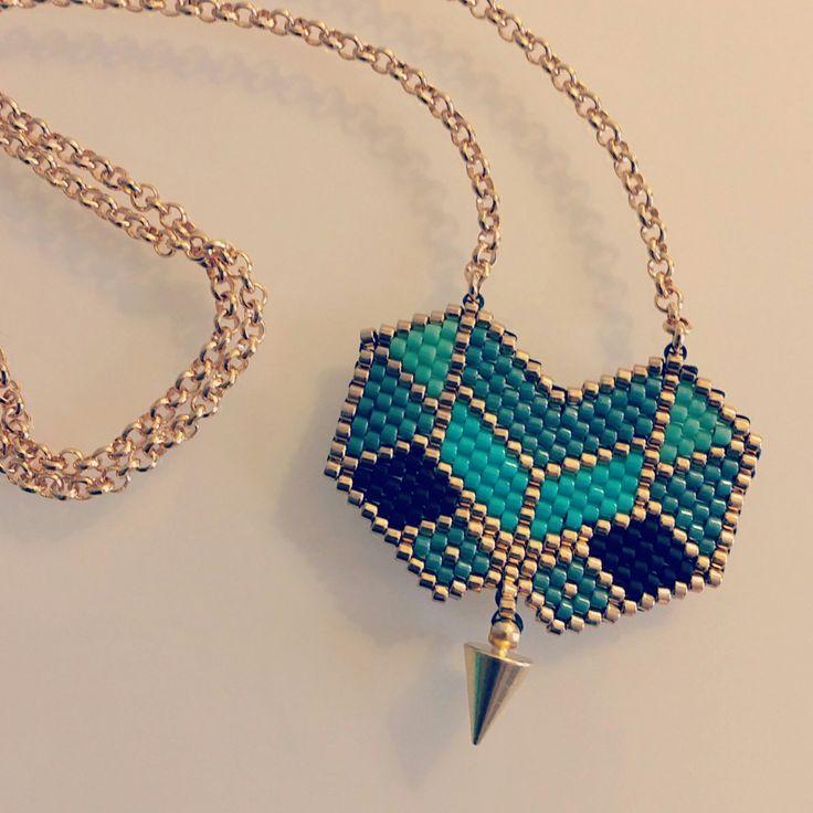 Parure sautoir et bracelet en perles Miyuki, doré, bleu et noir : Parure par laboutiquedesmidinettes