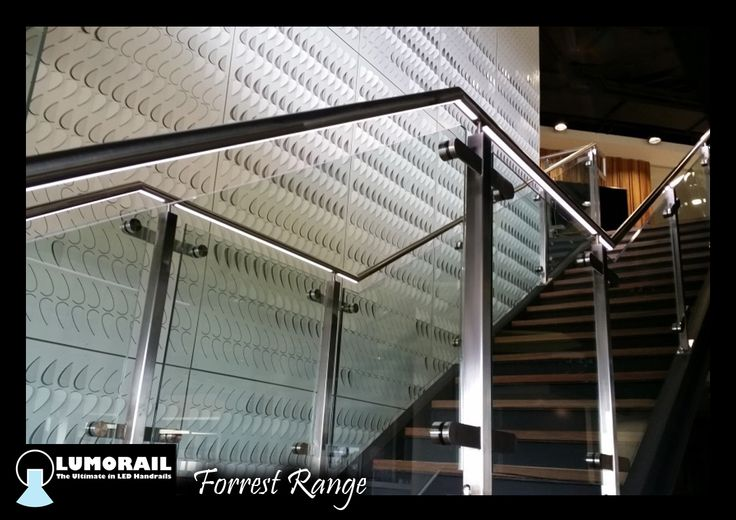 Our illuminated LED handrail 'The Forrest' Continuous light strip in a stainless steel handrail, we also installed the glass. This is available in a range of handrail profiles and sizes. Featuring our patented hollow bracket adapter system. www.lumorail.com.au for more info