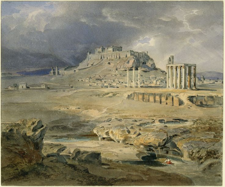 Athens - Acropolis and the Olympieion 1836 Carl Rottmann