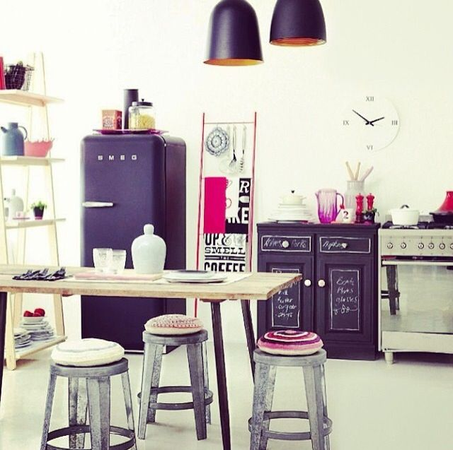 Lulu Loves For My Kitchen / Dining Room If I Was On The Block   Black Smeg  Fridge With Industrial Stools, Lights And Oven