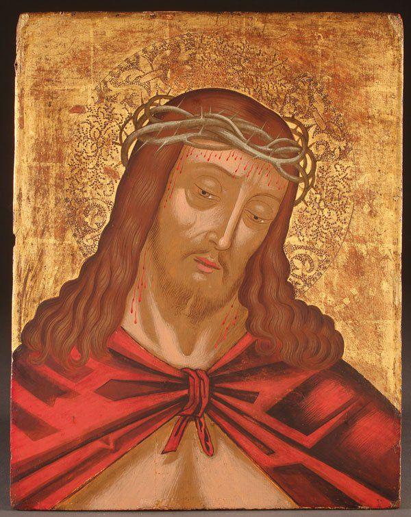 Christ Man of Sorrows Venato Cretan icon, late 16th century. H.Korban collection