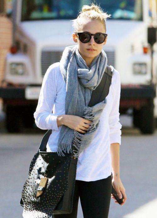 gray scarf.