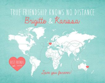 Gift for Best Friend, Long Distance World Map -  Custom Art Print, Friendship Quote, Sisters, Moving Away Gift, Going Away Gift   WF117