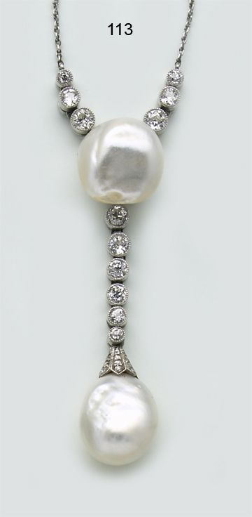 Edwardian Natural pearl, diamond and platinum necklace.