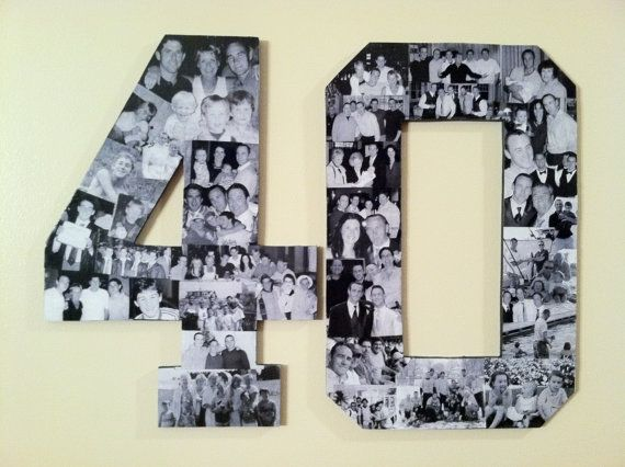 Two Custom Alphabet Collage Numbers --anniversary gift - pictures from 40 yrs of marriage