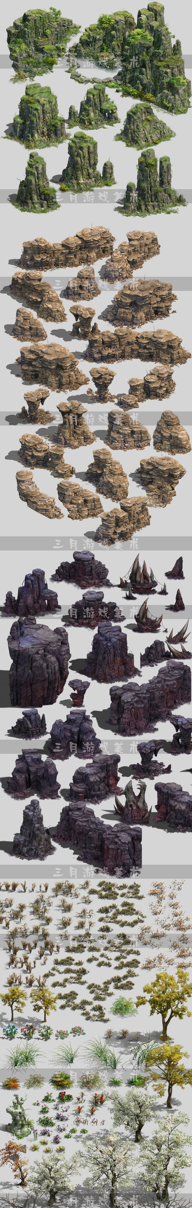 Game art game scene to compile resource material 2.5D realistic ...