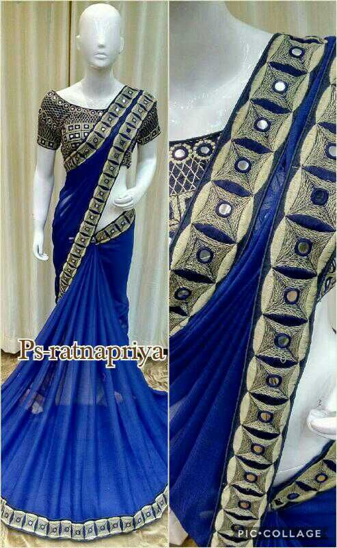 Saree stuff: Georgette. Description: designer saree having foil mirror threaded lace with same blouse. Saree length: 6 meter. Blouse size: max 40. Wash: Normal wash