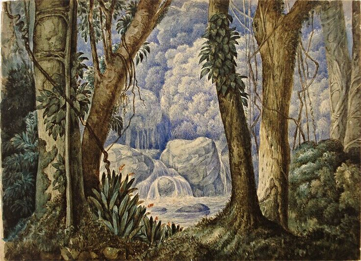 Brazilian watercolor landscape by Araújo Porto Alegre.