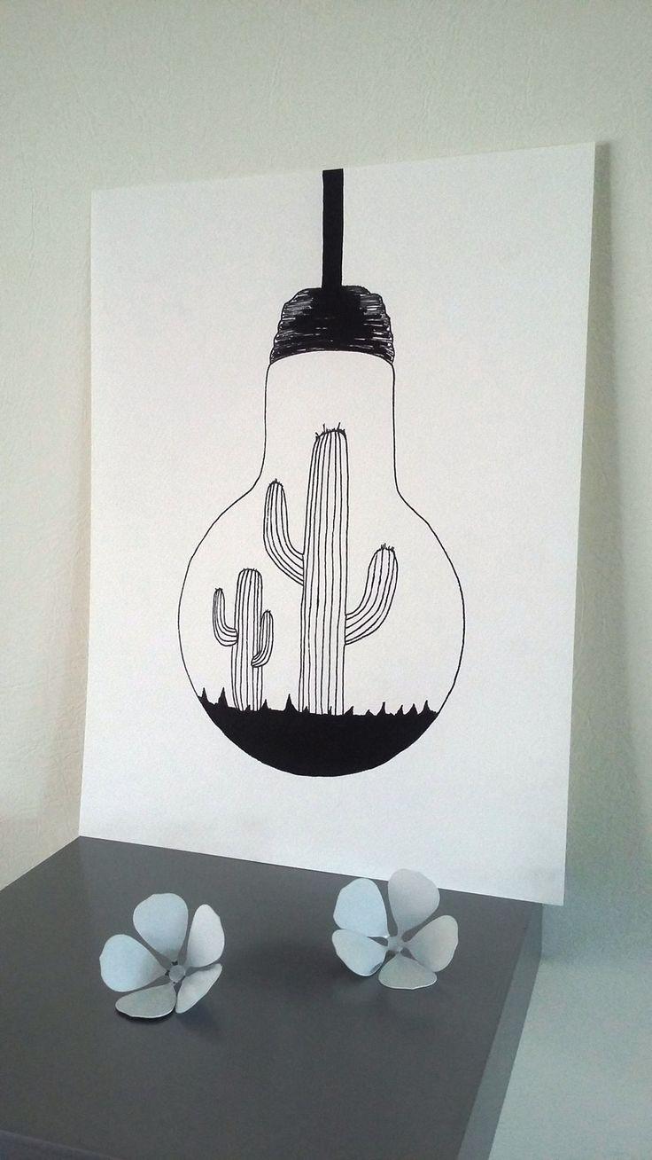 Affiche Illustration Noir et blanc ampoule
