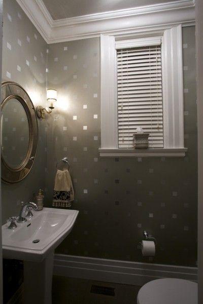 Stencil squares with metallic paint for a bit of sparkle! Super fun for a small half bath!Decor Ideas, Polka Dots, Guest Bathroom, Half Bath, Bathroom Wall, Metals Painting, Stencils Squares, Powder Rooms, Accent Wall