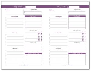 Deep Lilac - Half-Size Daily To-Do list planner printable