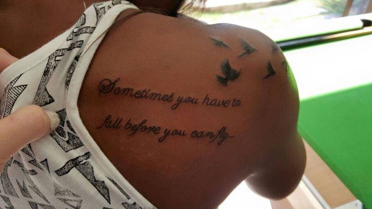 Sometimes you have to fall before you can fly, writing with birds Tattoo. Artist :Keagan Neuper. Style Ink Tattoos.