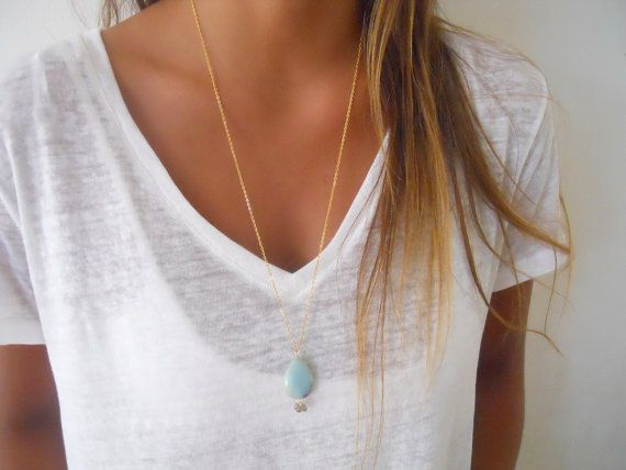 An Amazonite drop pendant with Labradorite beads on a gold chain, just work beautifully together.  This necklace is also perfect for layering with
