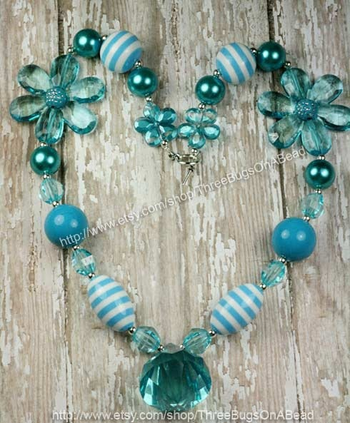 Turquoise and White Chunky Bubblegum Necklace Girls or Womens. $16.99, via Etsy.