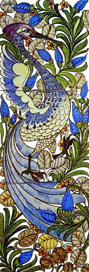 Fantastic Bird tile design by William De Morgan for Morris & Co.