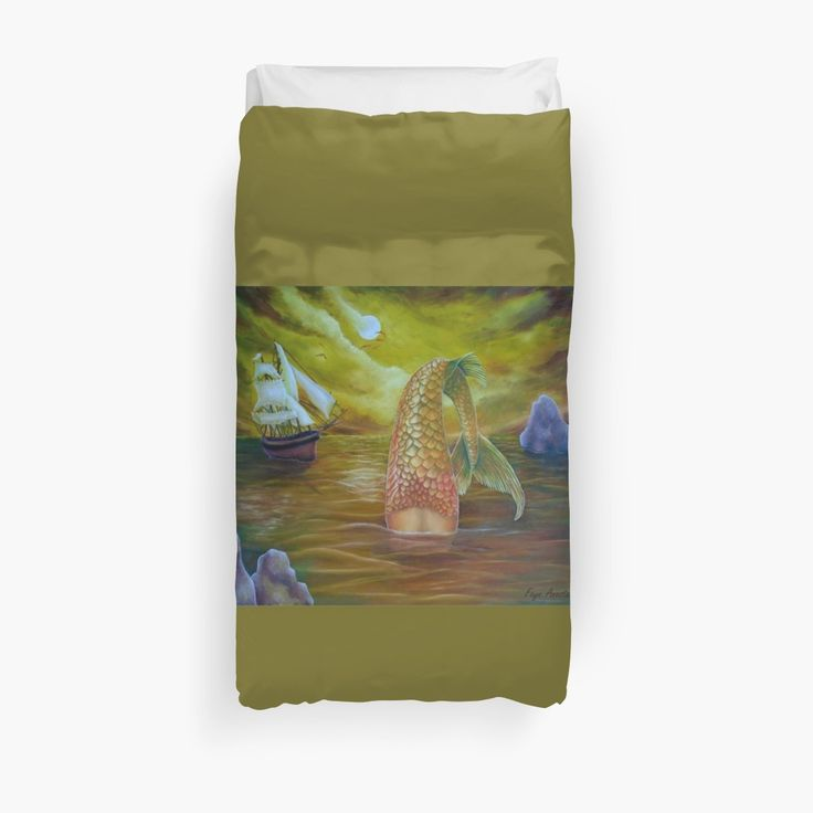 Duvet Cover, bed decor, for sale, home,accessories,bedroom,decor,cool,unique,fancy,artistic,trendy,unusual,awesome,beautiful,modern,fashionable,design,items,products,ideas,brown,golden,colorful,mermaid,tail,sailboat,ship,marine,nautical,sea,ocean,scene,wild,deep,sea,wildlife, fantasy, redbubble