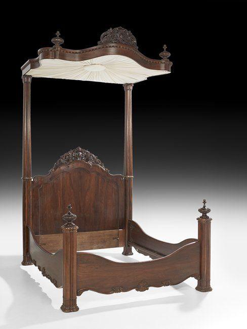 c1850 Rococo half-tester bed, attr P Mallard warerms, New Orleans, LA - 1875 Best # DECOR + Antiques / Antiquités / Antiguedades Images On