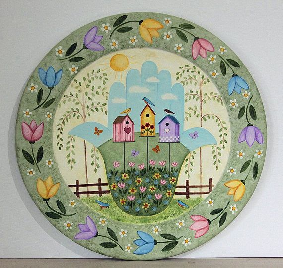 Hamsa Primitive Folk Art Hand Painted Platter, Spring Scene, Birdhouses, Bluebird, Flowers, Tulips, Willow Trees, Mother's Day READY TO SHI