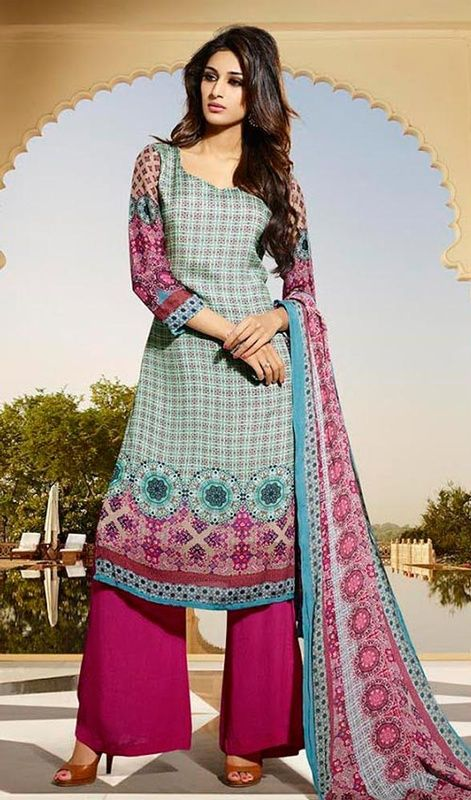 Take the vogue fad to a whole new level adorned in this palazzo suit, cotton and satin fabric in multicolor shade. This ravishing attire is amazingly embroidered with printed work. #multicolordress #fushiacolorpalazzossuit # floralprintdress
