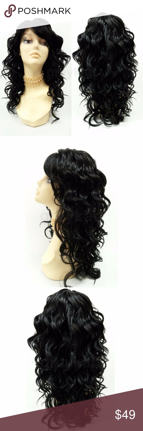 """Off Black Curly Heat Resistant Wig with Bangs 18"""" Long roller curls wig with straight bangs featuring a skin part and heat resistant synthetic fibers which can be styled with heating tools such as curling irons, flat irons, and heated rollers up to 350 F. Color: Off Black (1B) Circumference: Adjustable 21"""" - 22"""" inches Materials: Heat Resistant Synthetic fibers Wig prices are firm. Accessories Hair Accessories"""