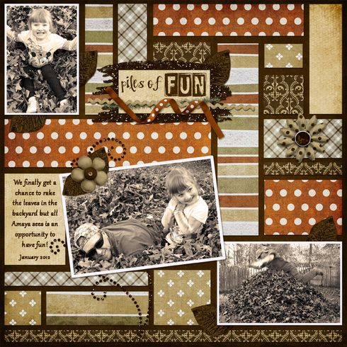 Scrapbook layout using paper strips-new way to use old templates
