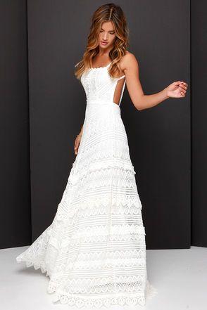 Lovely Ivory Dress - Lace Dress - Maxi Dress - Backless Dress - $69.00