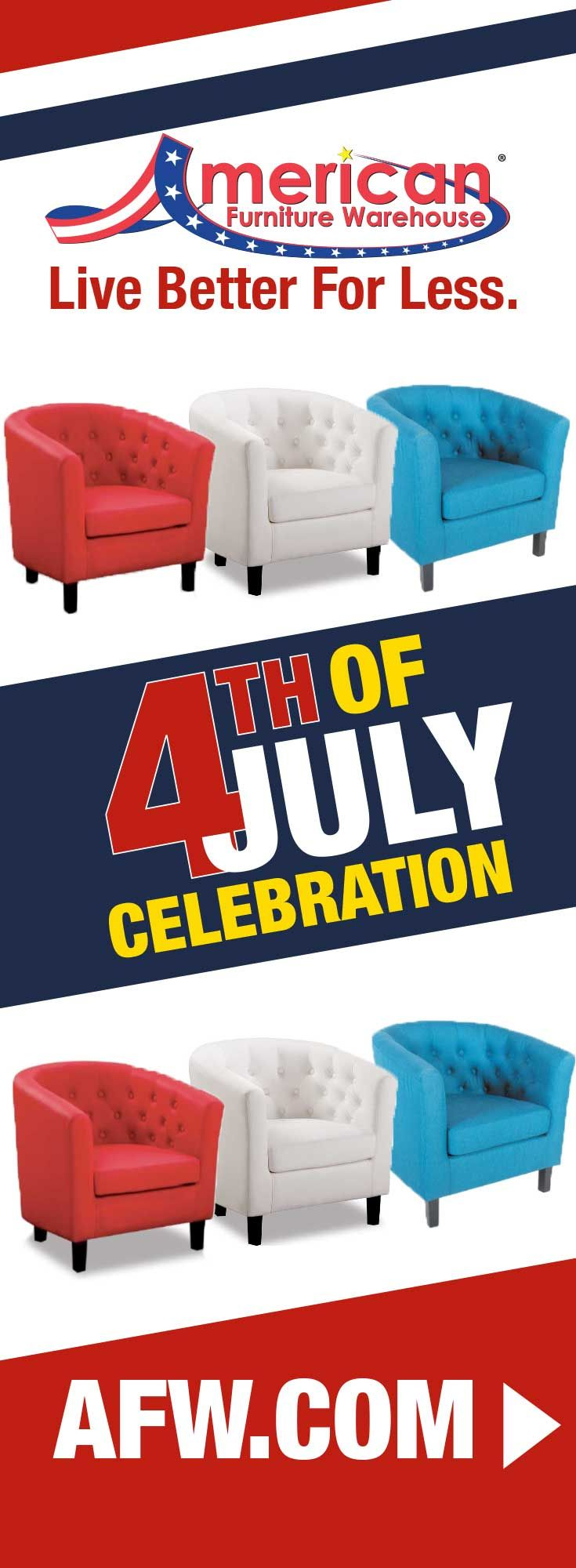 Bring patriotic flair to your home this 4th of July with a red, blue or white Mallory Tub Chair from American Furniture Warehouse. Shop now at AFW.com.