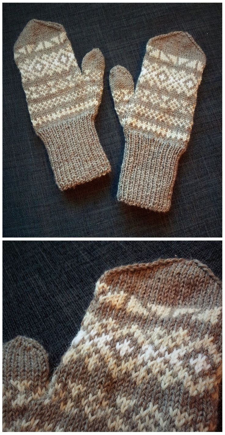 "Knitted mittens with a sort of Fair Isle style. The motifs are from the book ""200 Fair Isle Motifs - A Knitter's Handbook"""