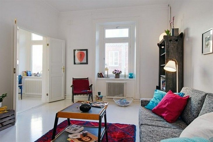 White Scandinavian Living Room With Colourful Vintage Furniture Design Ideas - pictures, photos, images