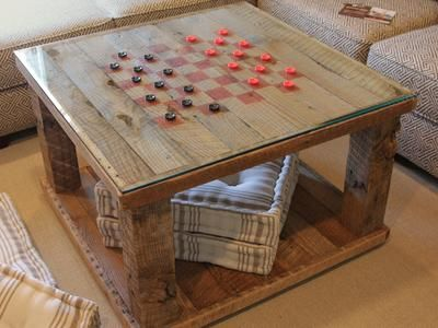 DIY instructions to build a Rustic Checkerboard Coffee Table