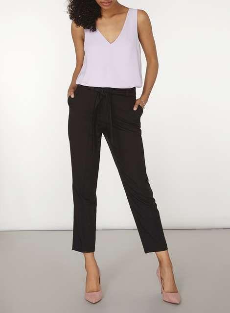 Black Crepe Tie Waist Tapered Leg Trousers - Workwear - Clothing - Dorothy Perkins