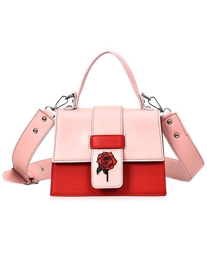2cae2c0687 Floral Embroidery PU Leather Handbag with Strap - LIGHT PINK ...