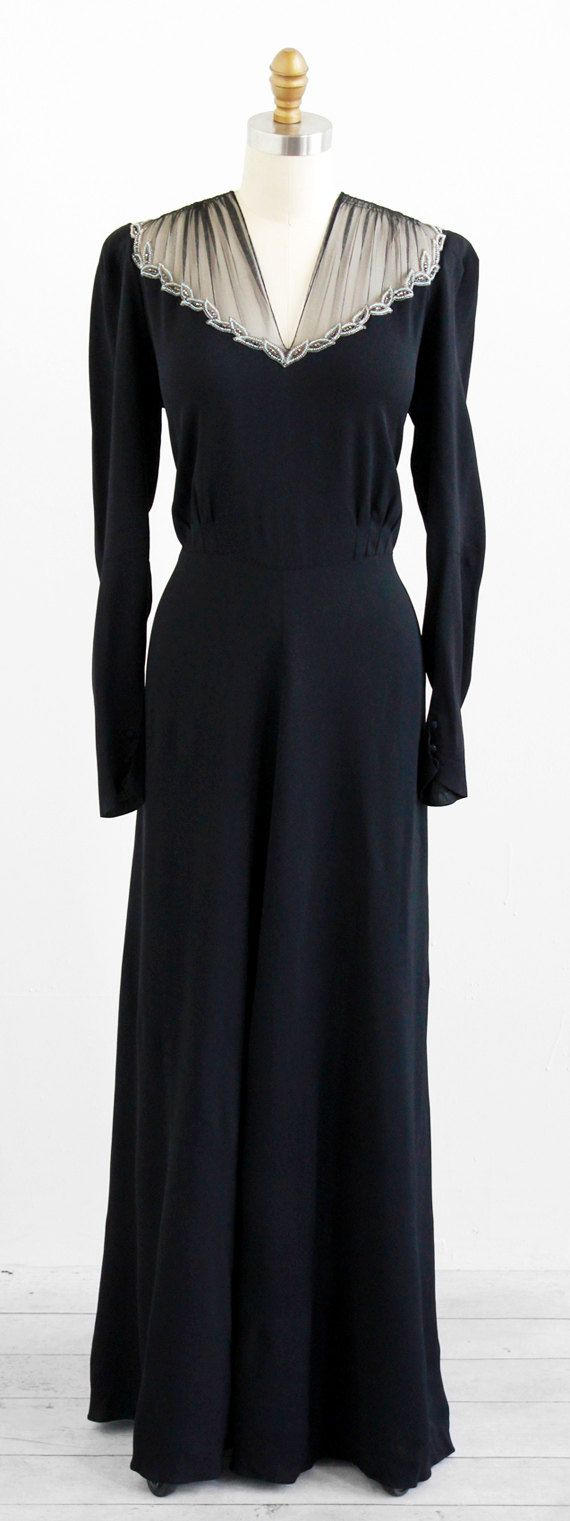 vintage 1930s black evening gown with rhinestone beaded neckline