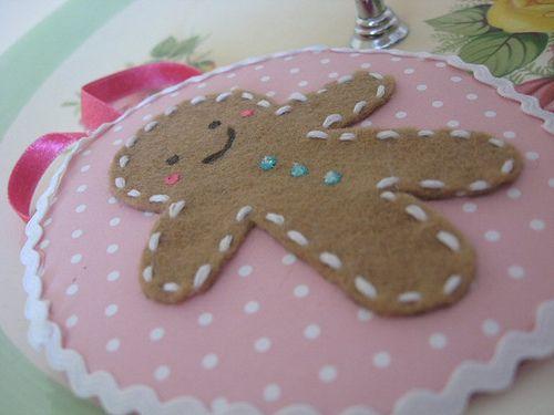 Gingerbread man ornament in felt