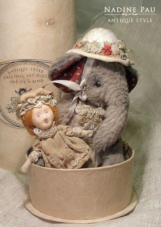 Купить Маленькая мисс Джини - слоник антик, слоненок, ретро игрушка, ретро стиль