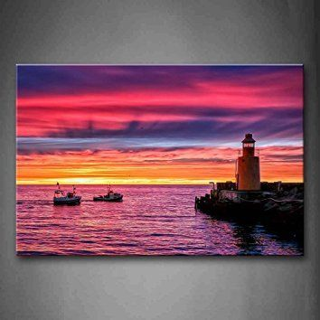 First Wall Art - Colorful Sunset Glow Boats Over River Lighthouse Wall Art Painting Pictures Print On Canvas City The Picture For Home Modern Decoration  It is easy to find the perfect gift for lighthouse lovers when you know they love lighthouse home décor and accents that make them think of lighthouses.  Lighthouses are nostalgic, historic and adorable which is a great reason to find inspiration by this type of sea side home décor.   Lighthouse home décor can be used in any room of the…