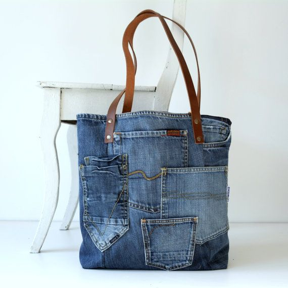 denim canvas tote bag with lots of pockets - jeans bag - recycled - leather straps- shopping bag- shoulder bag