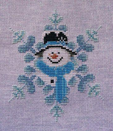 Kreuzstich Snowman with snowflake
